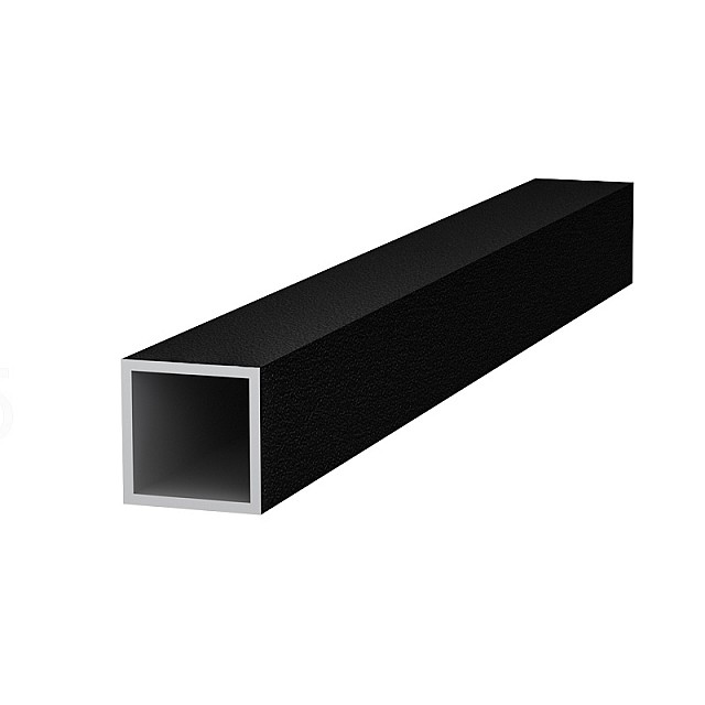 SQUARE ALUMINUM PROFILE 20x20 - BLACK, GRAINED